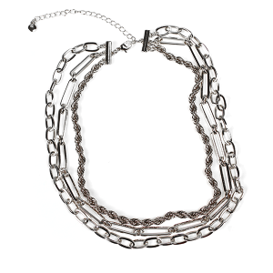 Necklace 618a 10 Avec three layer chain necklace silver