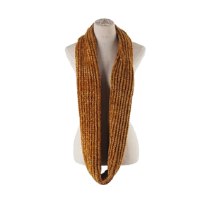 Scarf 105a 03 Justin & Taylor solid ribbed infinity scarf mustard