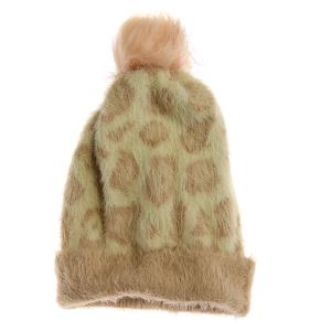 Winter Cap 105b 03 Justin&Taylor Fuzzy Leopard Pom Pom Beanie rose