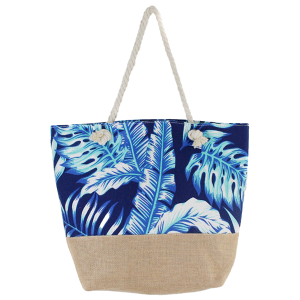 Justin & Taylor 1126604 tropical leaves burlap beach tote navy