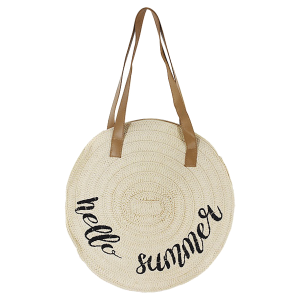 Justin & Taylor 1126939 round hello summer straw bag ivory