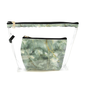 Justin & Taylor 1127606 2pc makeup bag marble mint