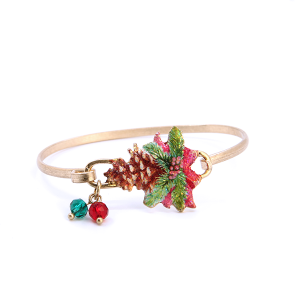 Christmas Bracelet 041 12 Tipi Pine Mistle Toe red green