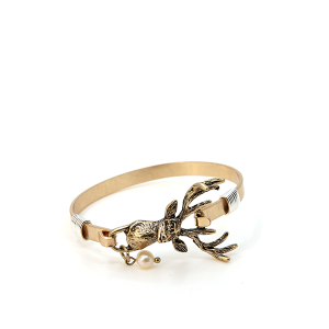 Bracelet 147c 12 Tipi Deer 3d bangle gold