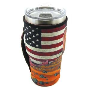 Tumbler Sleeve 061a 12 Tipi USA Flag cactus landscape