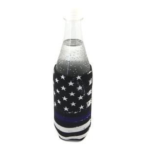 Bottle Cooler 113a 12 Tipi blue line USA Flag