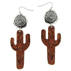 Earring 1996g 12 Tipi wooden cactus western embossed brown