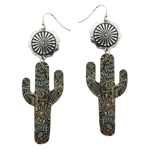 Earring 1562d 12 Tipi wooden cactus western embossed print