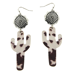 Earring 2141a 12 Tipi wooden cactus natural fur print