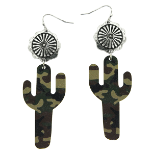 Earring 2181f 12 Tipi wooden cactus camo print