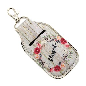 Hand Sanitizer Keychain Pouch 101 floral wooden blessed