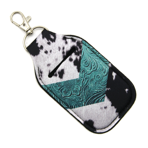 Hand Sanitizer Keychain Pouch 031a cow hide chevron turquoise