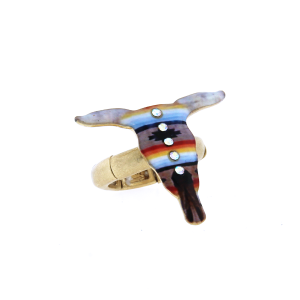 ring 011 12 Tipi longhorn multi stripe 2 crystal gold