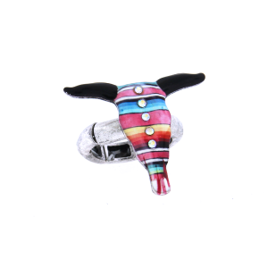 ring 014 12 Tipi longhorn multi stripe crystal silver