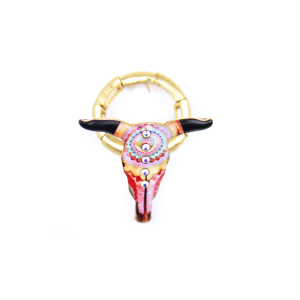 ring 018 12 Tipi longhorn multi crystal gold