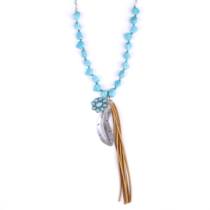 Necklace 1853 12 Tipi Long chain turquoise stone tassel necklace with feather pendant.
