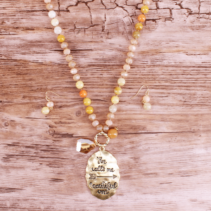 neck 1327a 12 Tipi bead he calls me beautiful one gold