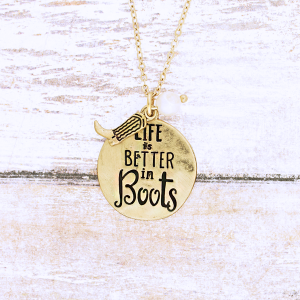 neck 1088o 12 Tipi Life is Better in Boots gold