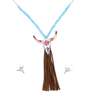 neck 1509A 12 Tipi Beaded Longhorn Tassle Silver Turquoise