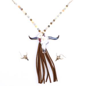 neck 372A 12 Tipi Beaded Longhorn Tassle Gold Beige