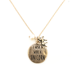 Necklace 230b 12 Tipi I Wish I Were A Unicorn Necklace gold
