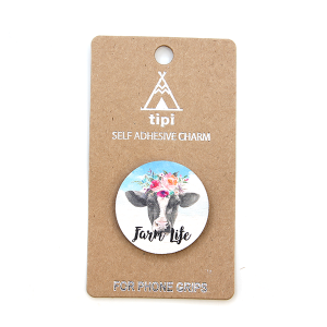 Phone Charm 057a Socket Sticker 12 Tipi farm life cow floral