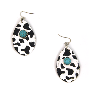 Earring 2477b 12 Tipi tear drop navajo cow leather earrings black white