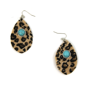 Earring 2488d 12 Tipi tear drop navajo leopard leather earrings brown