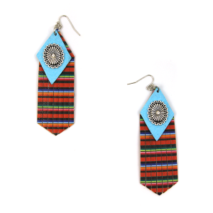 Earring 2490g 12 Tipi fringe leather serape navajo earrings multicolor