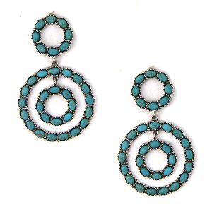 Earring 2418f 12 Tipi navajo circle stud dangle earrings turquoise