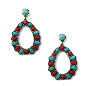 Earring 794 12 Tipi navajo style stone earrings stud dangle red turquoise