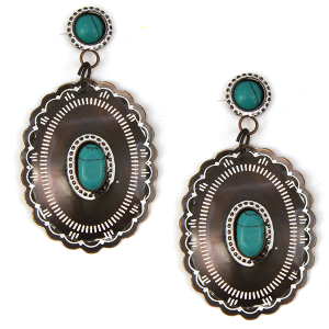 Earring 1322o 12 Tipi navajo stud dangle concho earrings patina turquoise