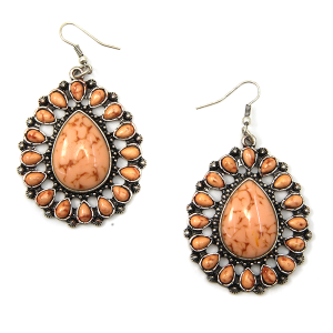 Earring 750m 12 Tipi navajo style stone earrings coral