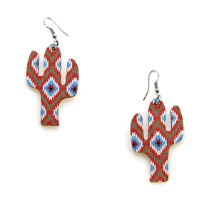 Earring 2479 12 Tipi cactus earrings geometric aztec multi