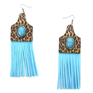 Earring 2883 12 Tipi Leopard Turquoise tassel earrings western
