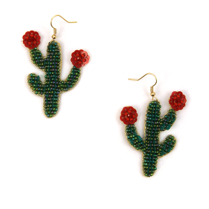 Earring 2388d 12 Tipi seed bead cactus earrings