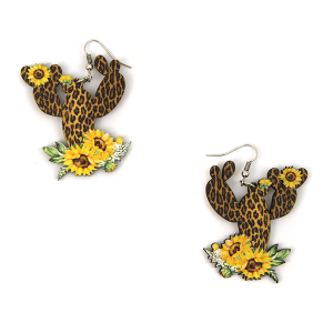 Earring 2392c 12 Tipi wood leopard sunflower cactus earrings