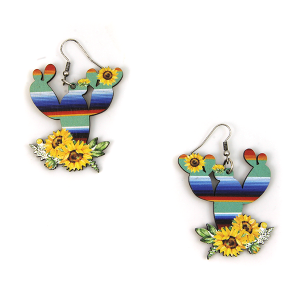 Earring 2396h 12 Tipi wood serape sunflower cactus earrings