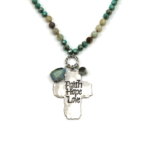 Necklace 371a 12 Tipi bead charm necklace turquoise faith hope love cross