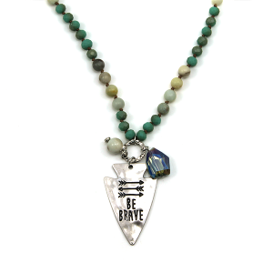 Necklace 184u 12 Tipi bead charm necklace turquoise be brave arrow