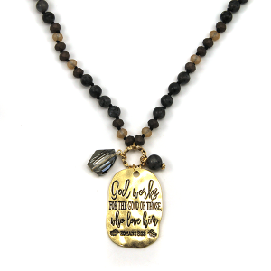 Necklace 171r 12 Tipi bead charm necklace black god works for the good of those who love him Romans 8:28