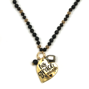 Necklace 297a 12 Tipi bead charm necklace black his grace is enough heart