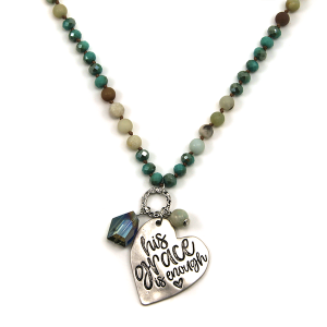 Necklace 229b 12 Tipi bead charm necklace turquoise his grace is enough heart