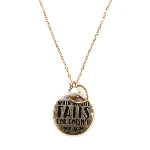 Necklace 992b 12 Tipi when all else fails god doesnt necklace gold