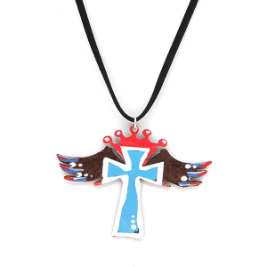 Necklace 313 12 tipi string rustic necklace cross wings