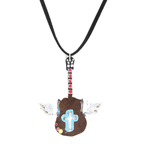 Necklace 337 12 tipi string rustic necklace guitar wings