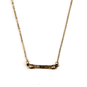 Necklace 2201 12 Tipi bar wire mom necklace gold