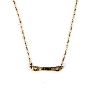 Necklace 1024 12 Tipi bar wire sister necklace gold
