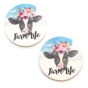 Car Coaster 002 floral cow farm life car coaster