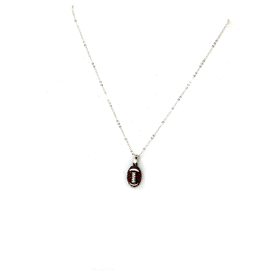 Necklaces 1110J 16 Crystal avenue silver chained football necklace